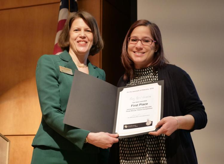 Paty Abril-Gonzalez and Graduate School Dean