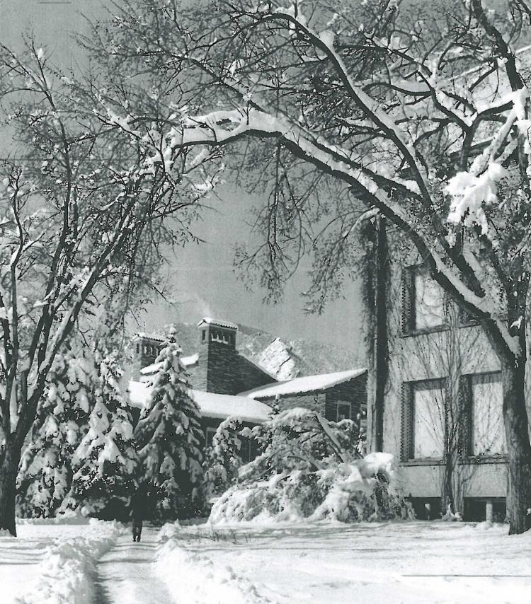 Historical winter scene of campus, 1957