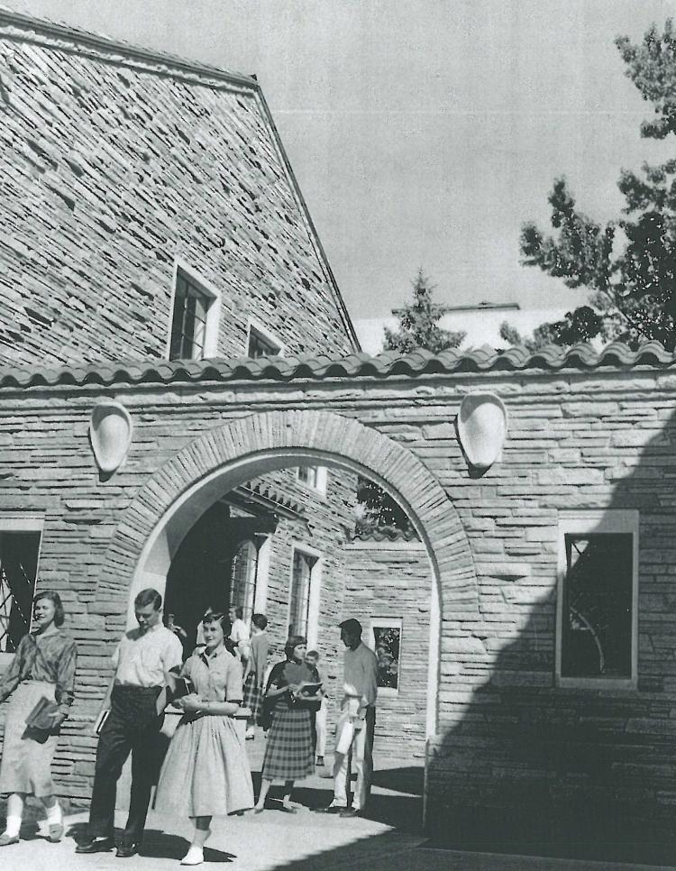 School of Education building and students, 1958