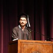 Tyler LeCroy speaks at Graduation