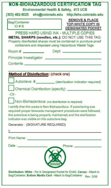 Non-biohazardous waste tag
