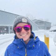 Rachel Eastman smiling in snow storm