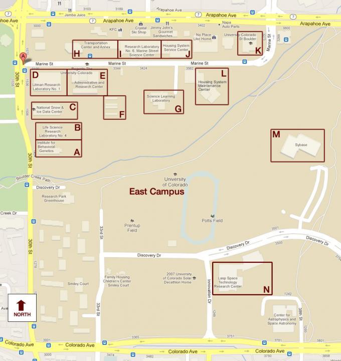 Colorado Boulder Campus Map.East Campus Buildings Within Boulder Creek Flood Zone Emergency