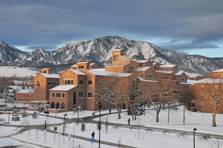 Scenic image of CU Boulder Campus in winter