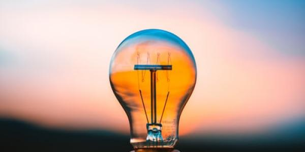 A person holding a lightbulb with a sunset in the background