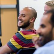 students laughing in the classroom