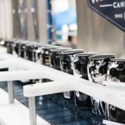 cans on a production line