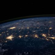 aerial view of earth at night