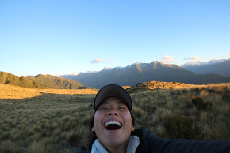 Anna Pyle (Architectural) atop Mt. Brown in Southwest New Zealand