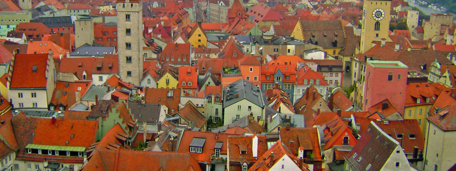Red rooftops in Regensburg Germany