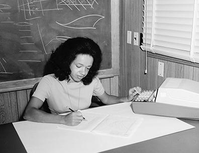 Christine Darden at desk at NASA Langley