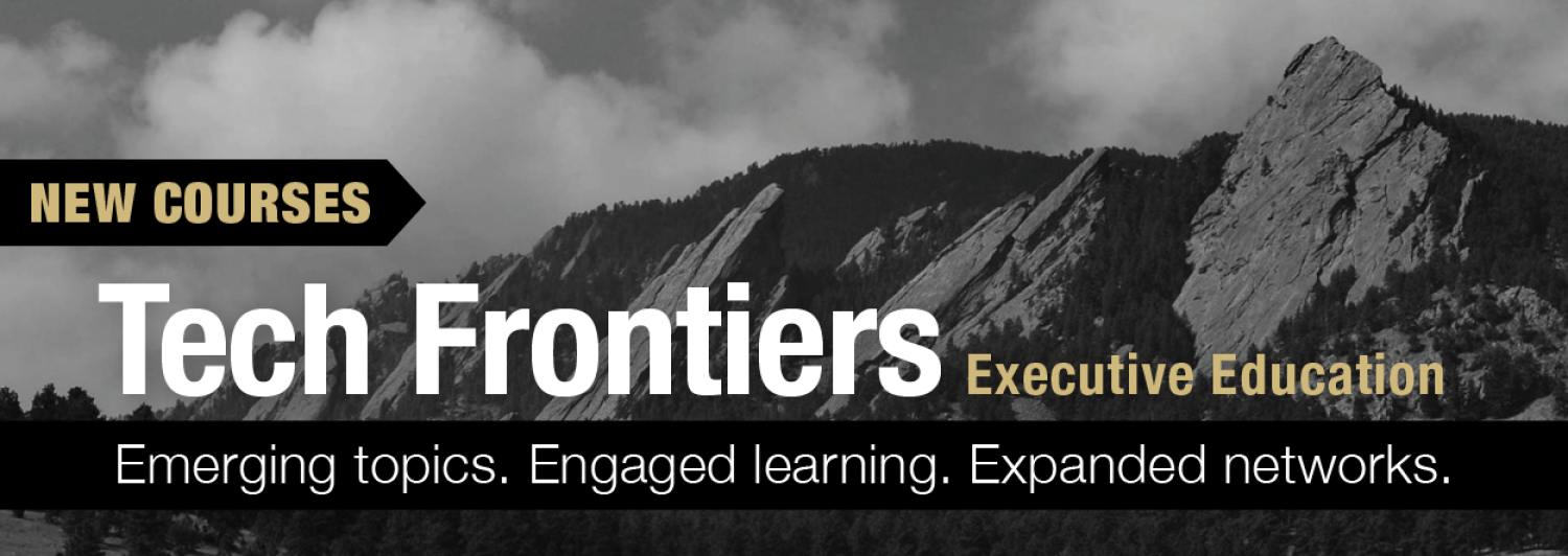 Tech Frontiers banner with Flatirons in background