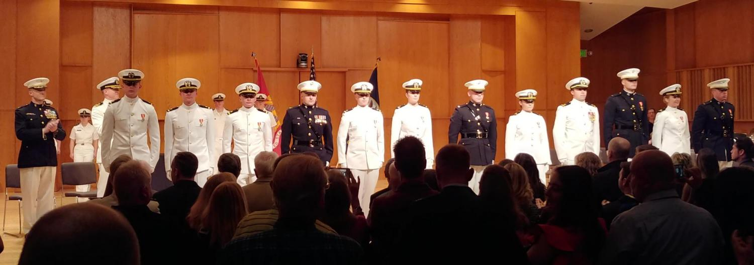 The twelve new NROTC commissionees, both Navy and Marine Corps.