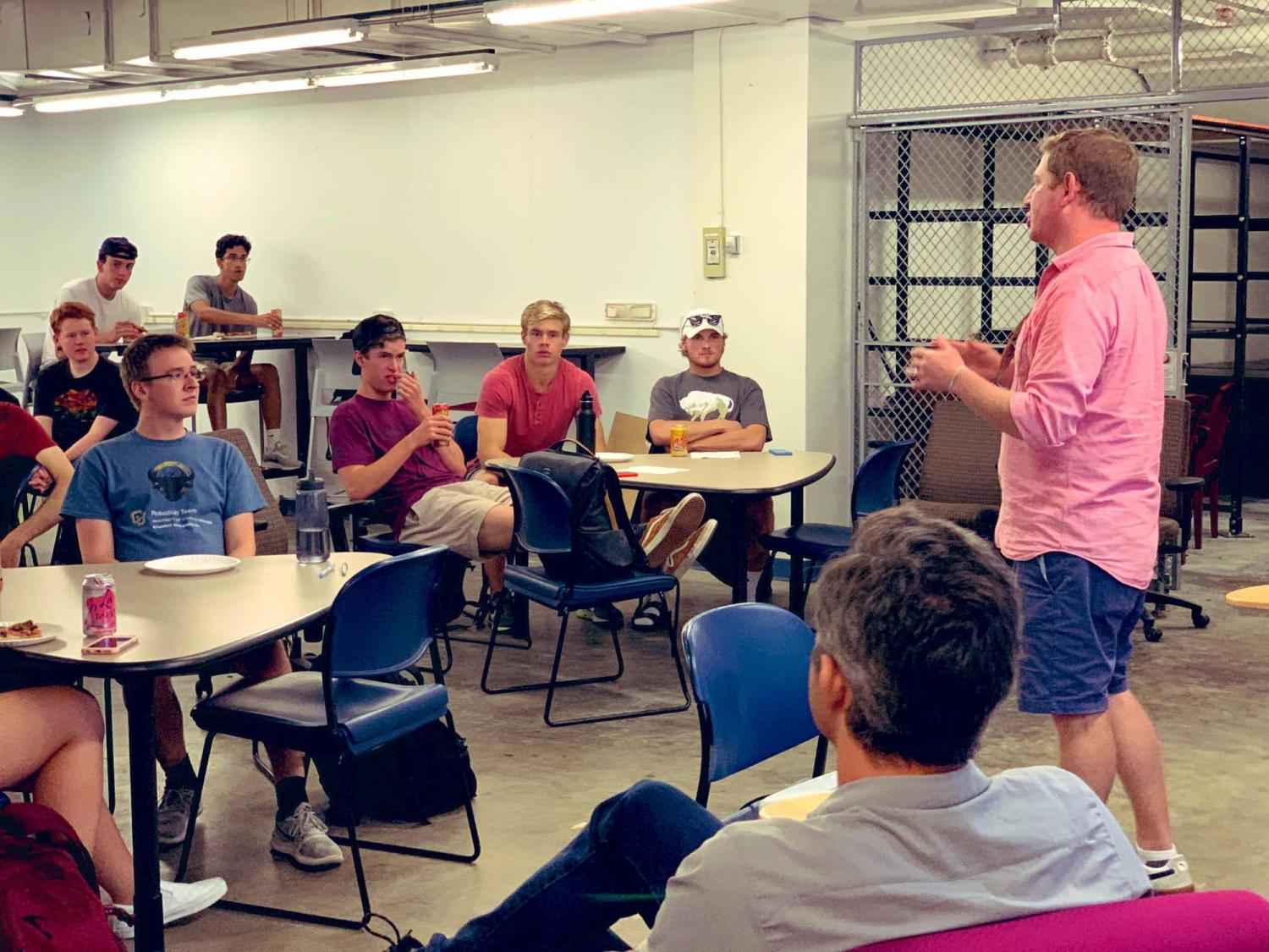 Kyle Judah and students meet founder at Basecamp space
