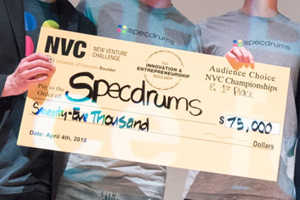 Giant check for Specdrums startup