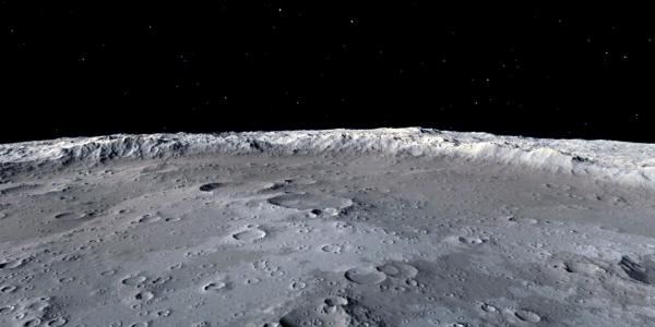 The surface of the moon with empty space in the background