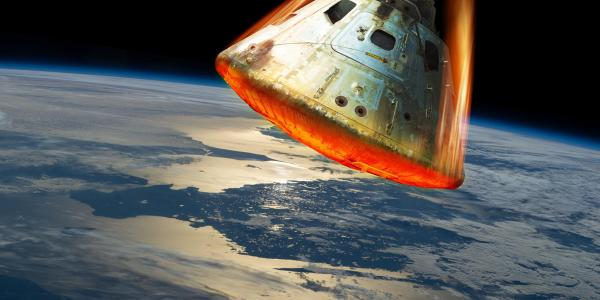 Hypersonic vehicle entering the atmosphere
