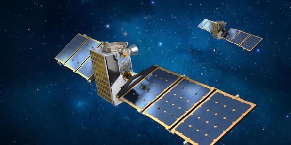 Artist's depiction of the twin Janus spacecraft. (Credit: Lockheed Martin)