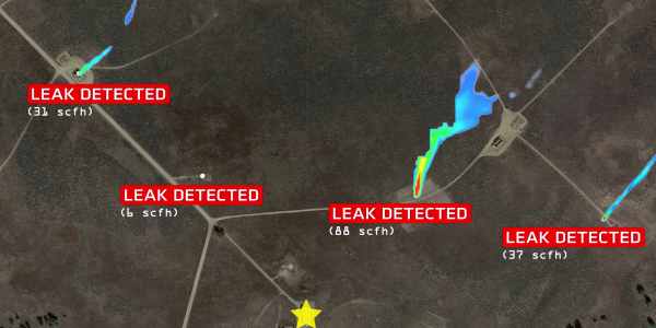 A visualization of multiple leaks in the field.