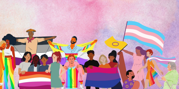 Collage of drawn people of different ages and ethnicities holding and wearing various pride flags including representation from asexual, lesbian, gay, trans, bisexual, nonbinary and intersex folks