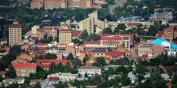 CU Boulder campus as seen from above