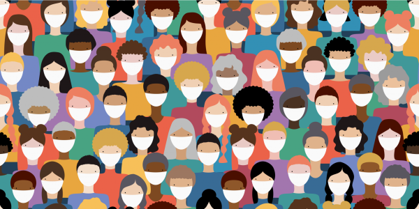 Illustration of diverse crowd of people wearing medical masks for prevention of virus transmission. New corona virus COVID-19 concept. Vector seamless