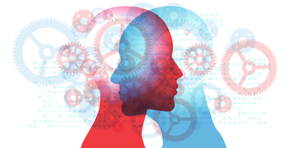 Illustration of two heads in silhouette sharing ideas with cogs