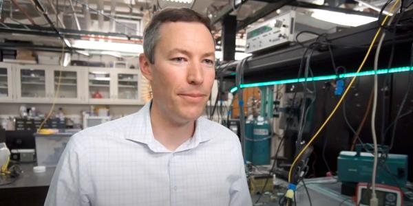Greg Rieker talking in his lab