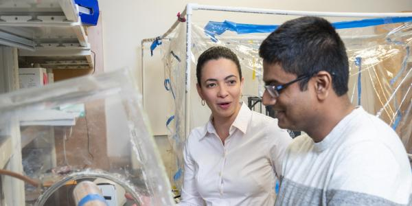 Student and professor working in the lab