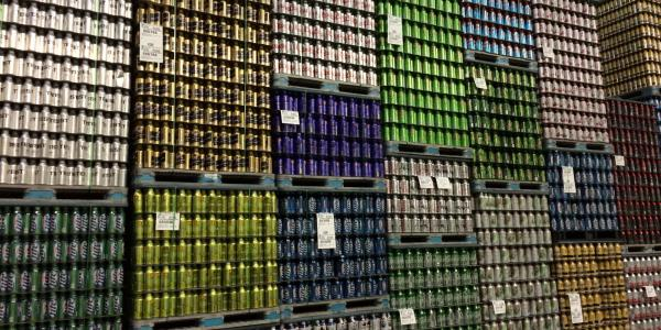 Stack of Ball aluminum cans in warehouse