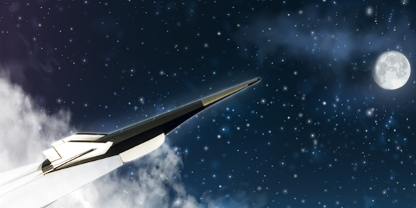 Illustration of a hypersonic vehicle flying into space
