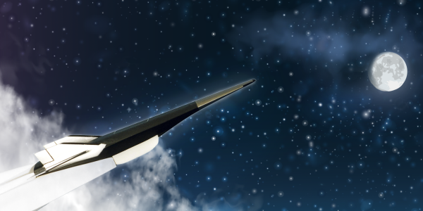 Hypersonic vehicle in space illustration
