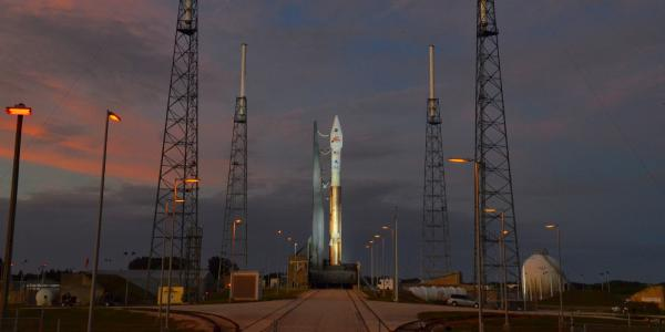 The MAVEN spacecraft sits atop an ATLAS V rocket on launchpad 41 at Kennedy Space Center in Florida.