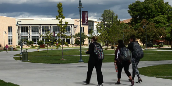 Students walking to class on the Colorado Mesa University campus.
