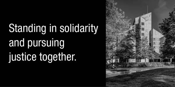 Standing in solidarity and pursuing justice together graphic