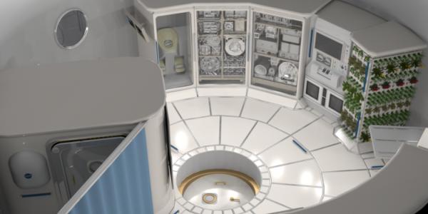 Conceptual art of space habitat design