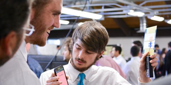 Students presenting at Senior Design Expo