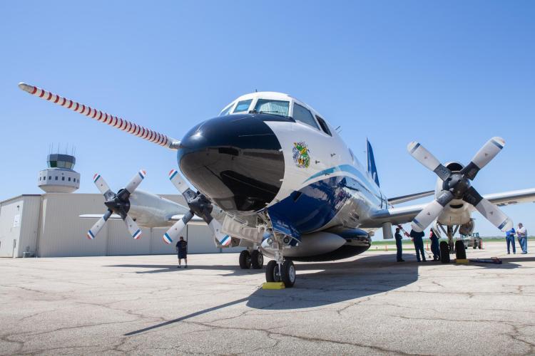 The hurricane hunter airplane at media day