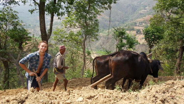 Ross Fischer in Nepal farm