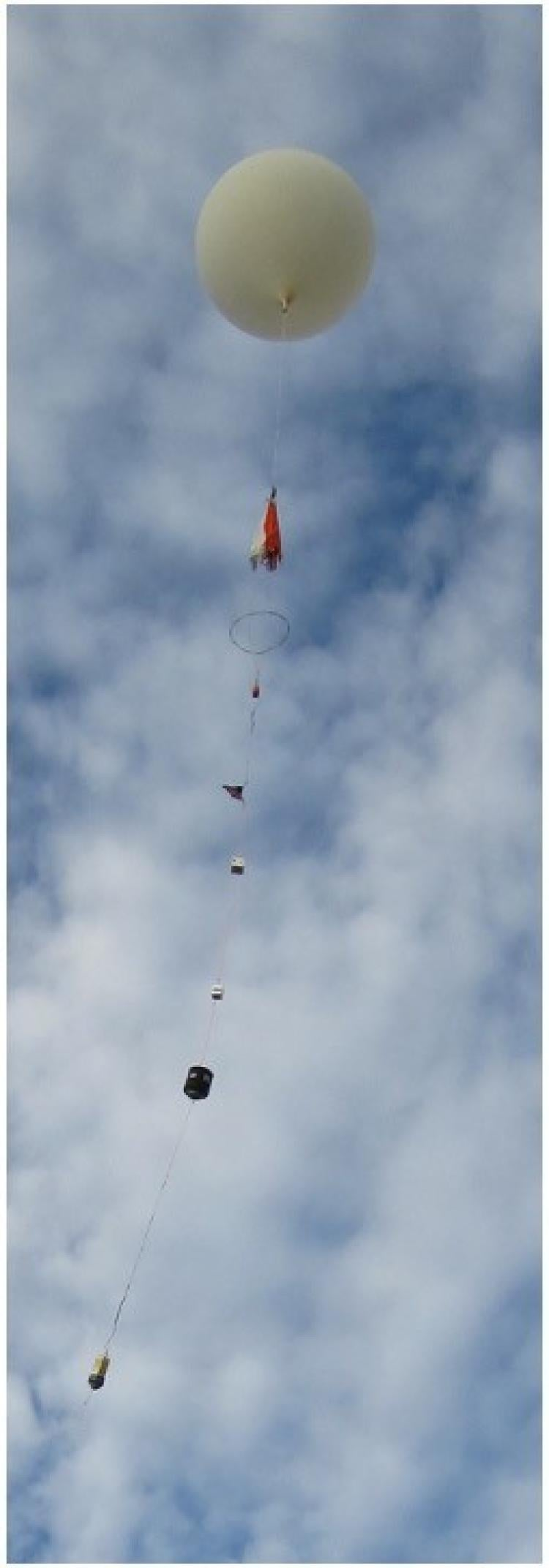 A balloon launching with payloads.