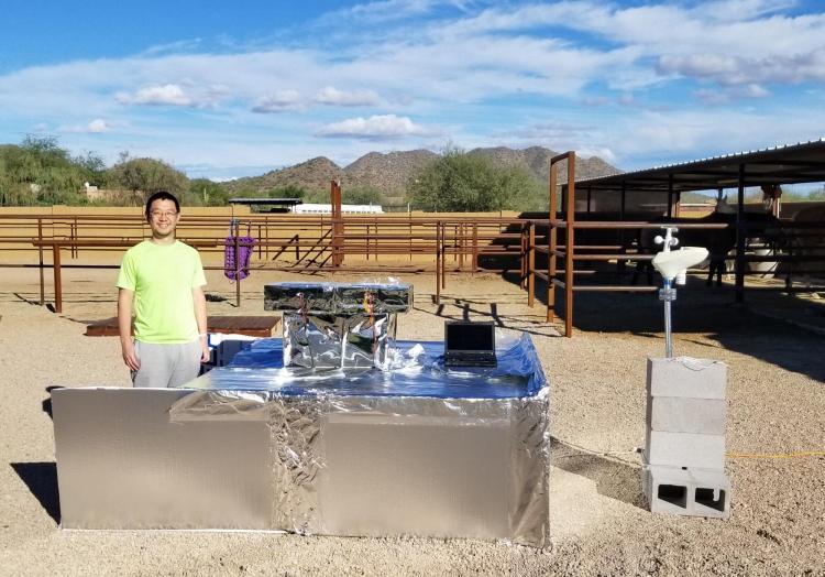Yao Zhai conducting field tests in Arizona