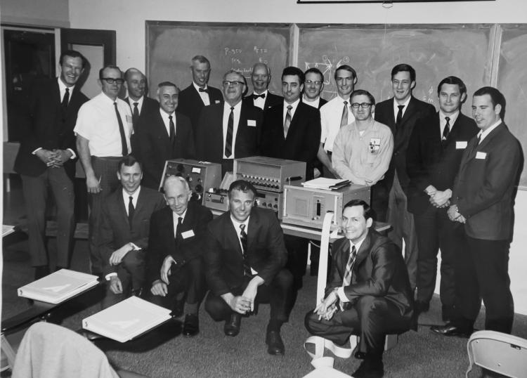 Siccardi and a group of colleagues with early electronic tools at the Federal Highway Administration.