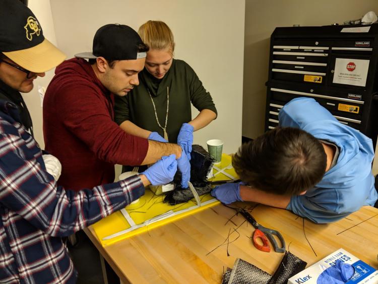 Hyperloop team members working together