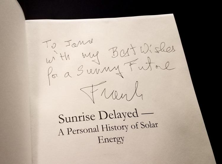 signed Frank Kreith autobiography to Jana Milford