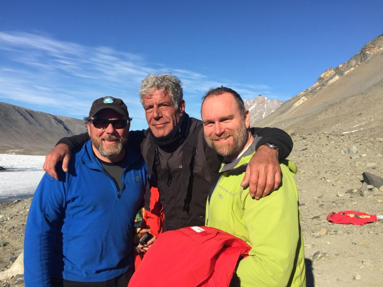 Michael Gooseff and Anthony Bourdain in Antarctica