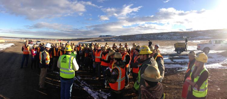 Students from the construction engineering and management program at Northwater Treatment Plant with Kiewit and Denver Water teams on CO93 near Golden