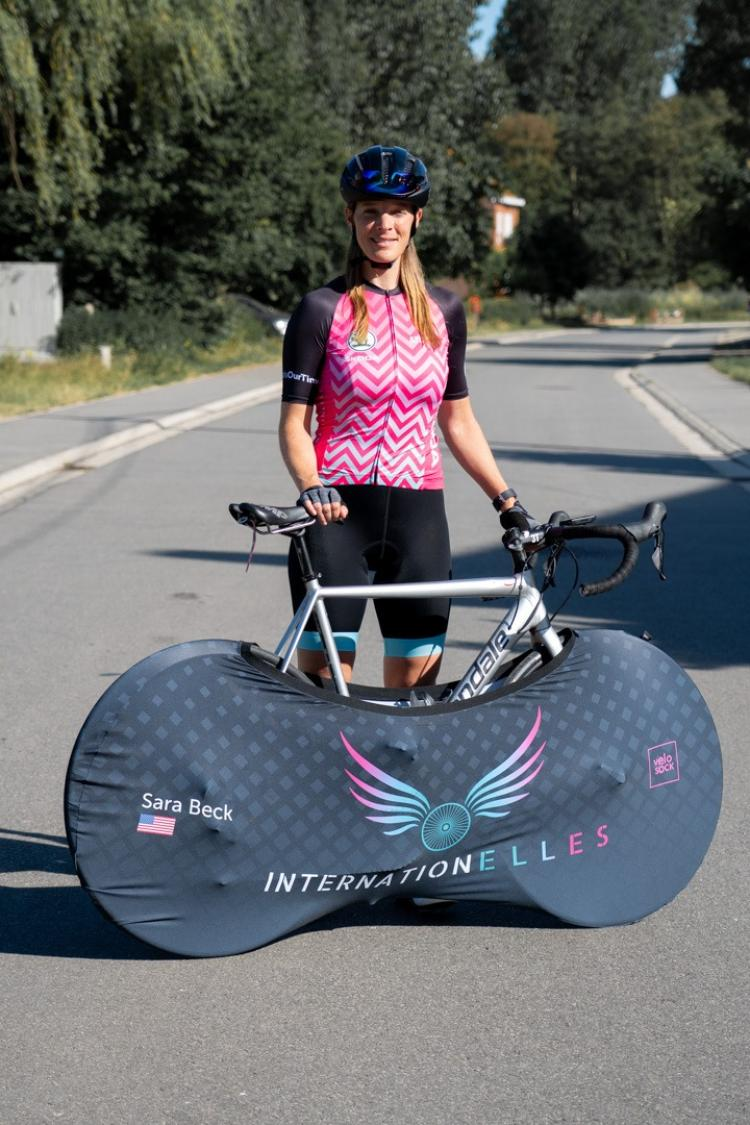 Sara Beck with her bike during the Tour de France ride