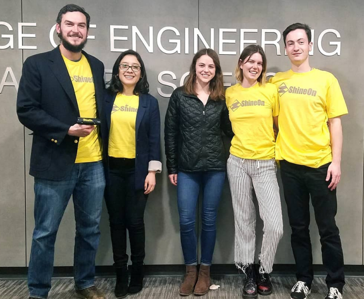 Members of the ShineOn team pose in the Engineering Center.
