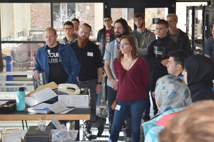 prospective transfer students tour CU Engineering ITLL in fall 2017