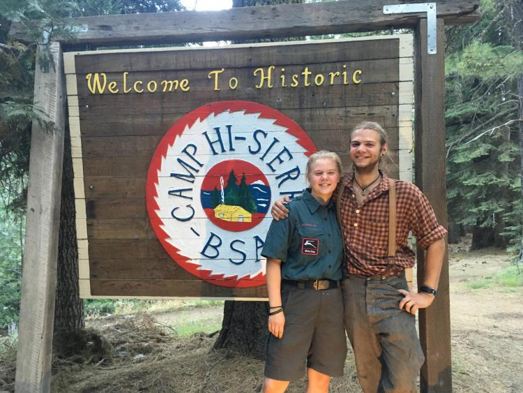 Emerson Domke and brother at Camp Hi Sierra sign